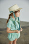 Ribbon straw hat - natural/dusty blue