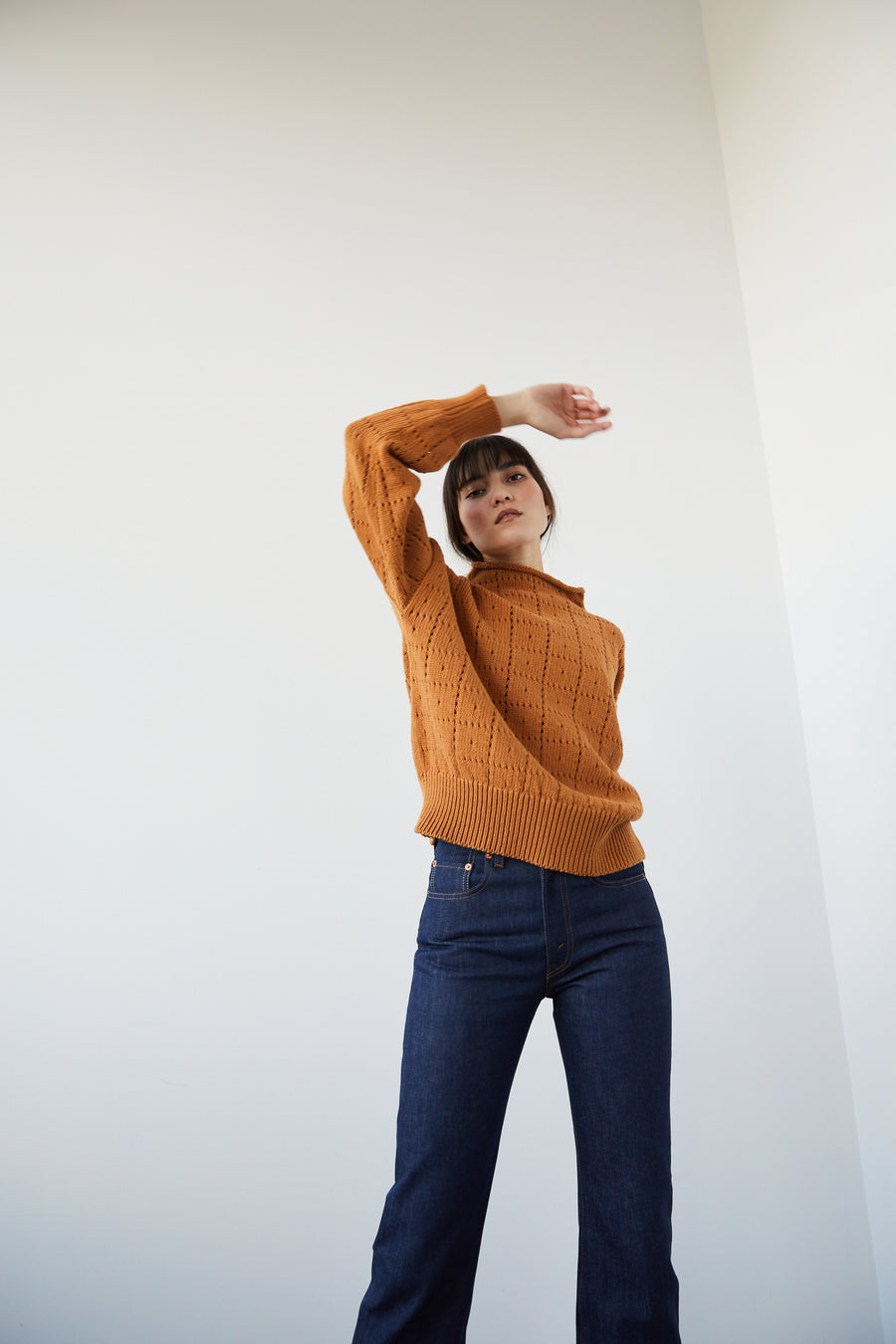 Adult Windowpane Sweater - Caramel