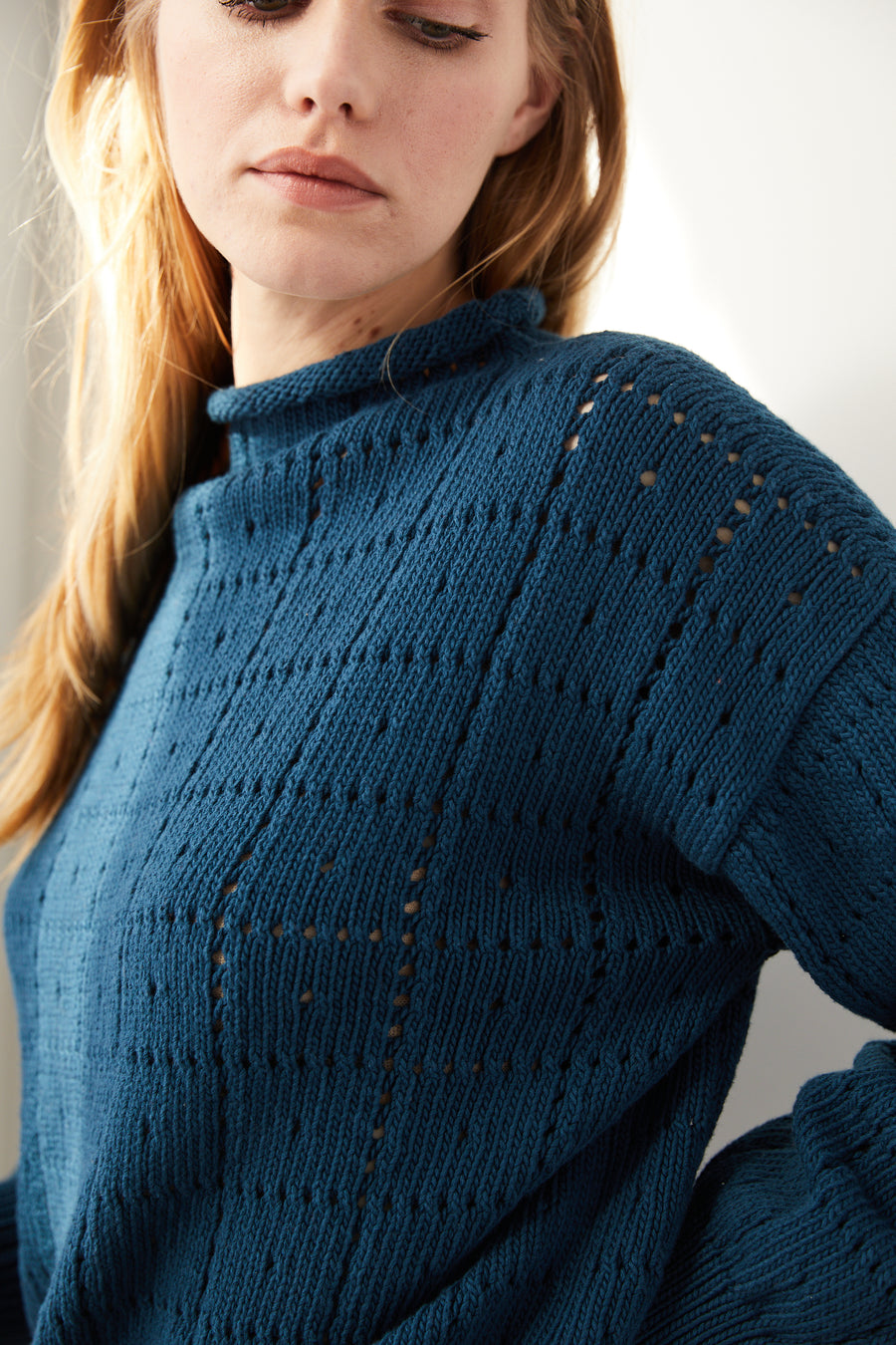 Adult Windowpane Sweater - Marine Blue