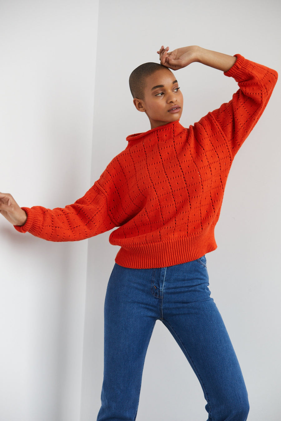 Adult Windowpane Sweater - Persimmon