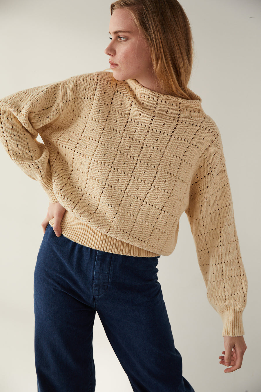 Adult Windowpane Sweater - Macadamia