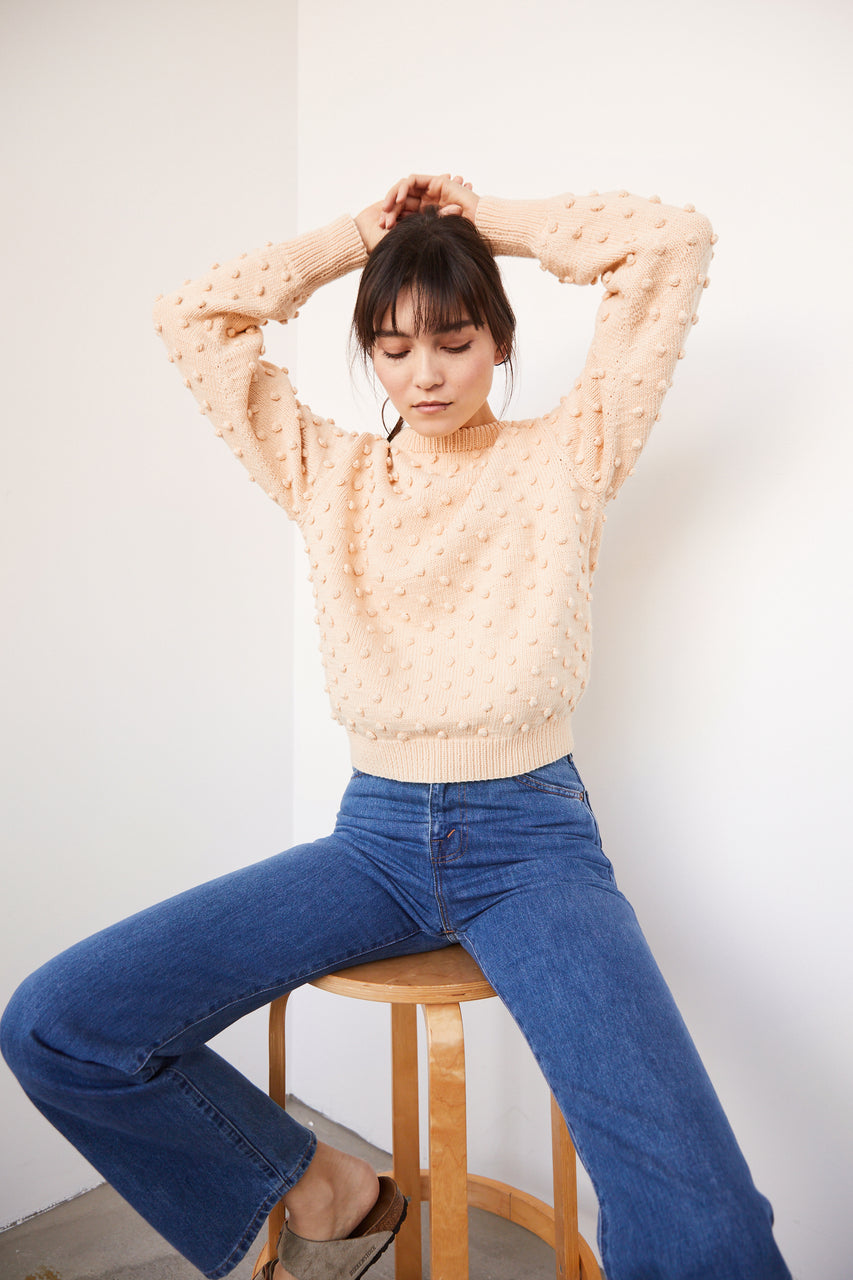 Adult Popcorn Crew Sweater - Light Peach