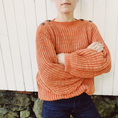 Fisherman Boatneck Pullover / Clay