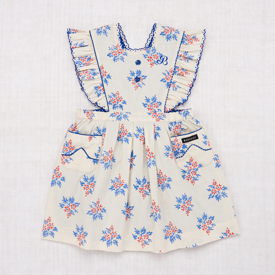 Apron Dress - Red Blue Flower