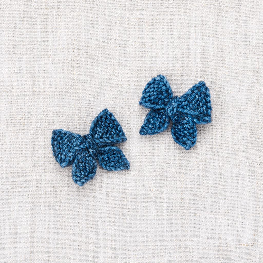 Baby Puff Bow Set - Blue Smoke