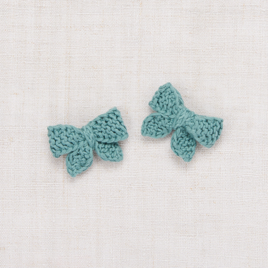 Baby Puff Bow Set - Dusty Blue