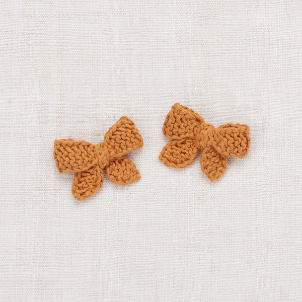 Baby Puff Bow Set - Caramel