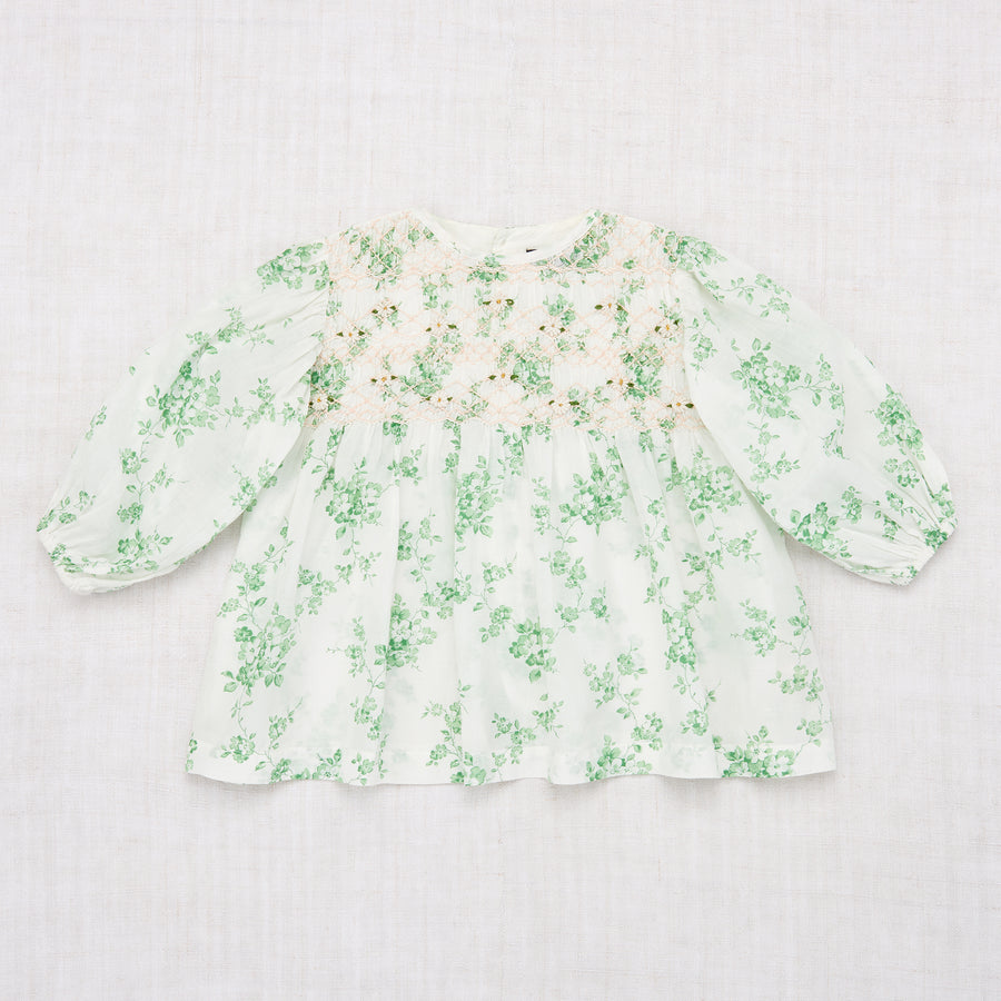 Balloon Handsmock Blouse - Green Flower Print