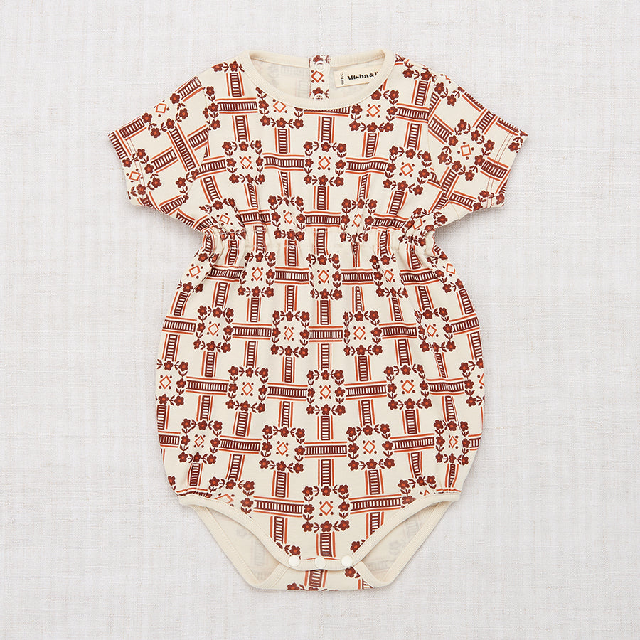 Railroad Floral Balloon Romper