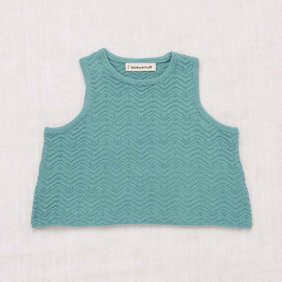 Chevron Tank - Dusty Blue