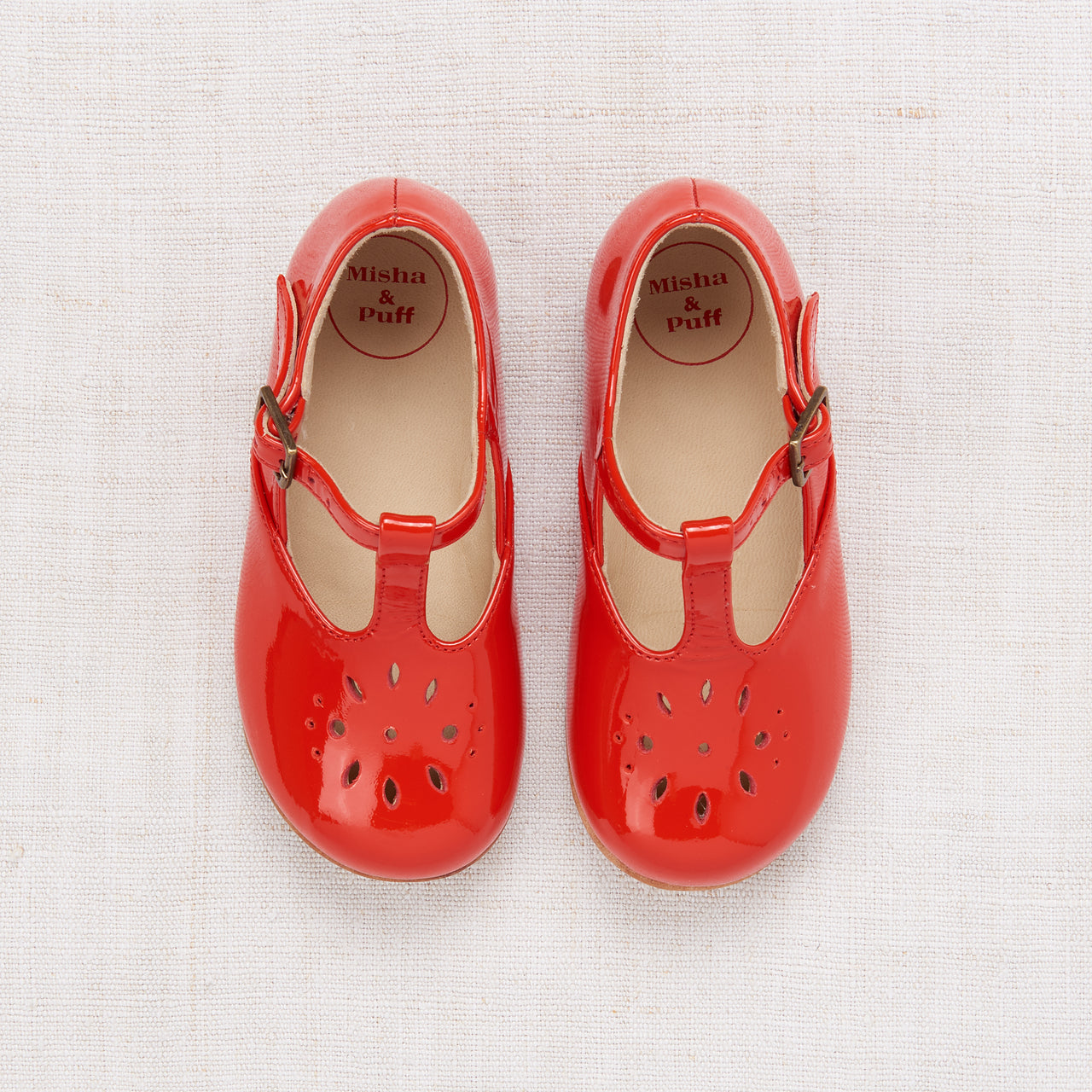 Sally T-Strap Shoes - Crimson Patent