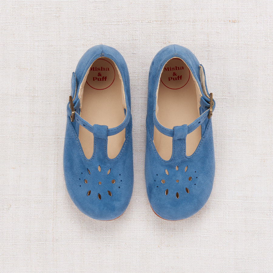 Sally T-Strap Shoes - Dusty Blue Suede
