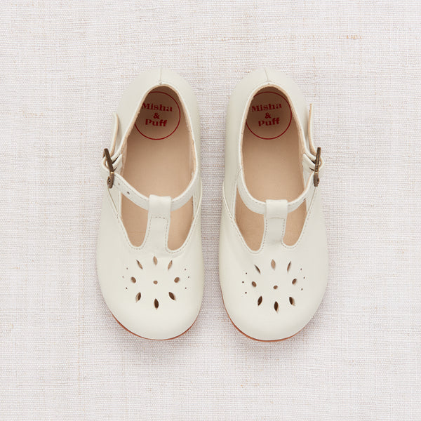 Sally T-Strap Shoes - Cream Leather