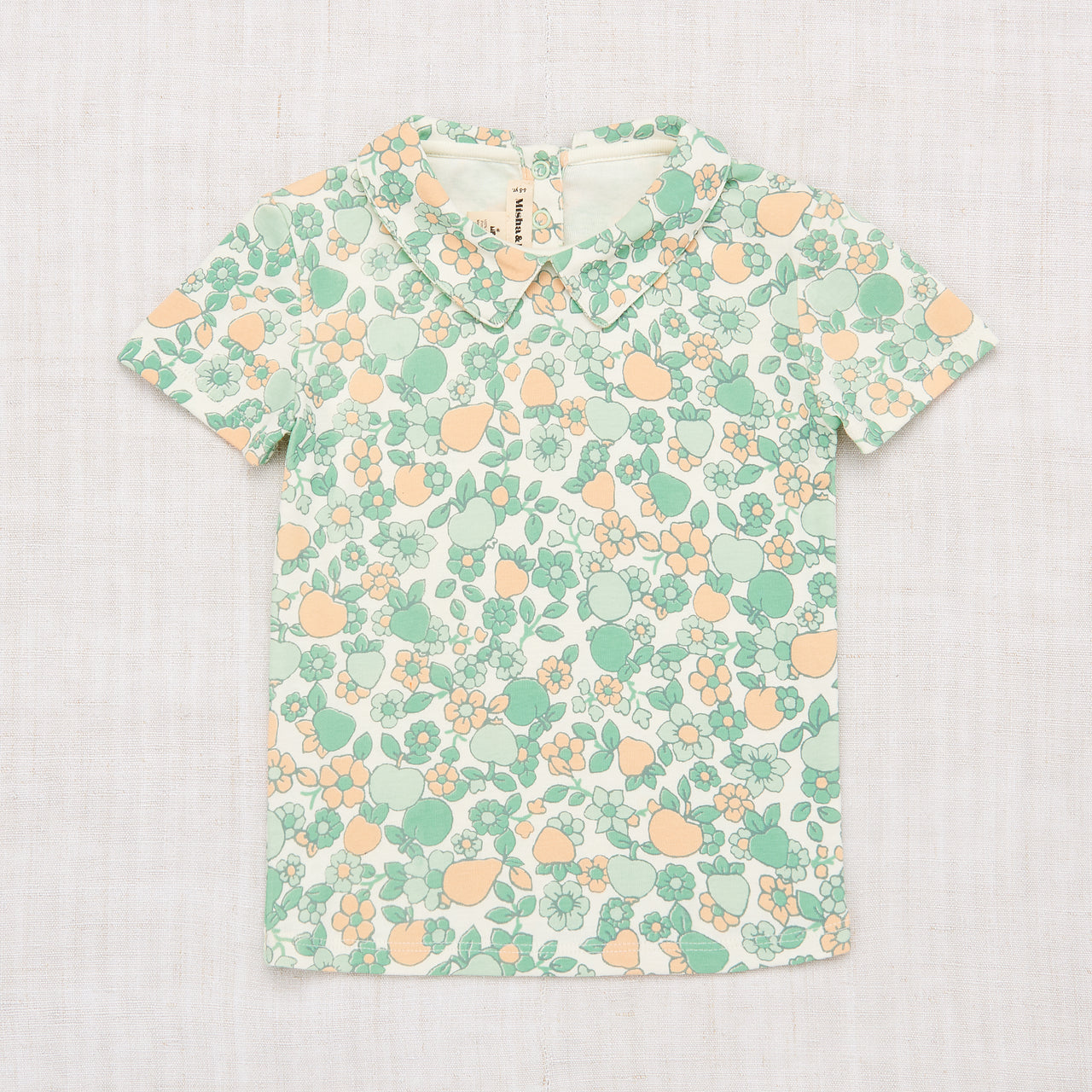 Collar Tee - Mint Orchard Print