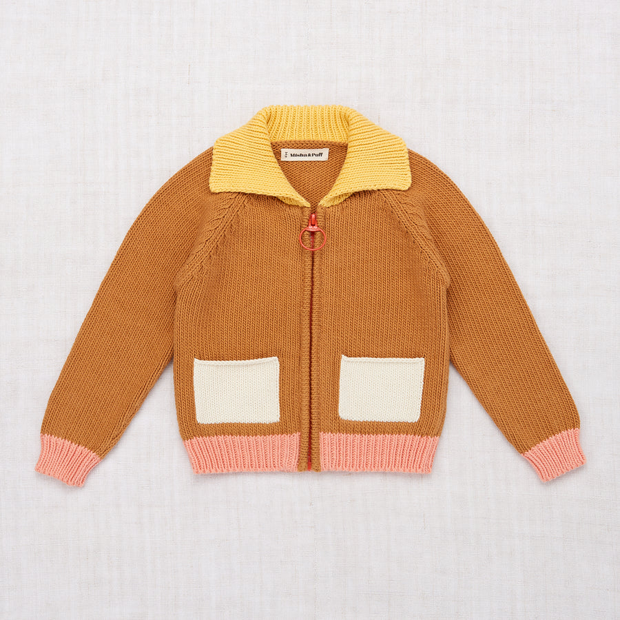 Colorblock Cardigan - Caramel
