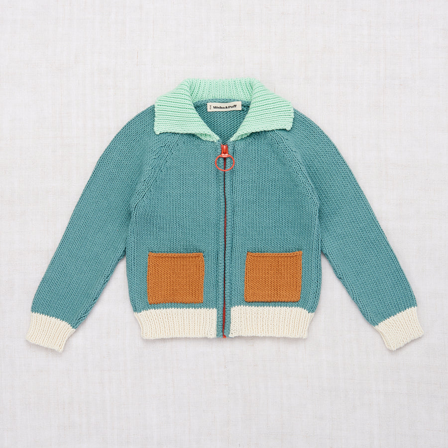 Colorblock Cardigan - Dusty Blue