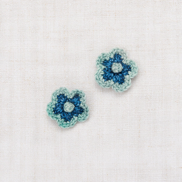 Crochet Flower Clip Set - Blue Smoke/Sage