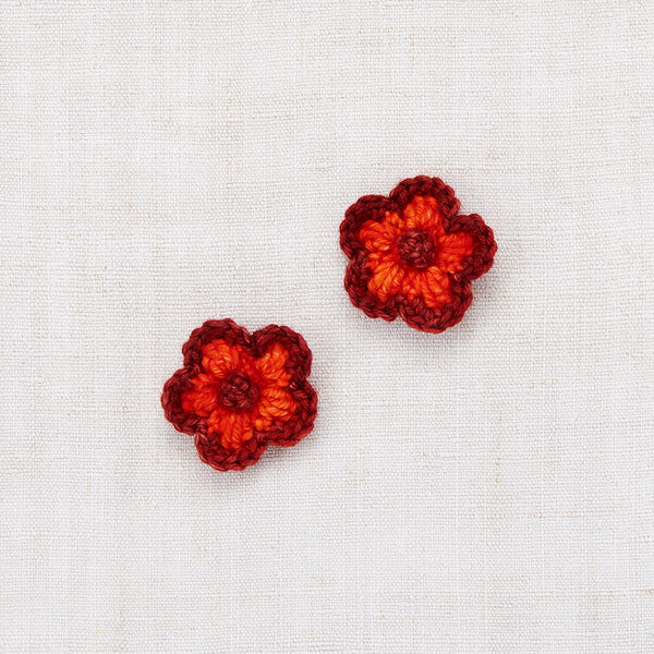Crochet Flower Clip Set - Brick/Hot Red
