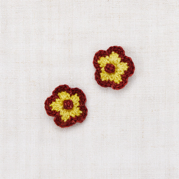 Crochet Flower Clip Set - Dijon/Brick