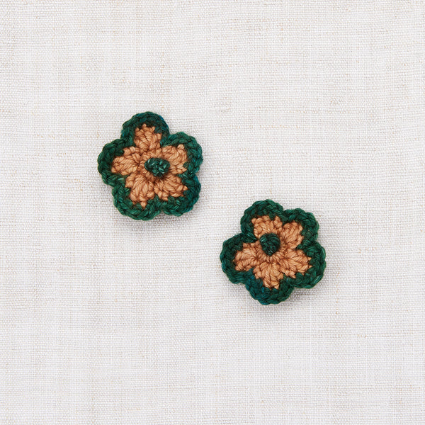 Crochet Flower Clip Set - Laurel/Rose Gold