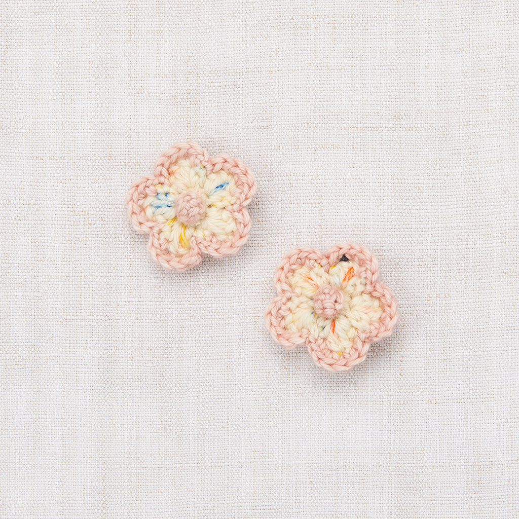 Crochet Flower Clip Set - Primary Color Confetti/Faded Rose