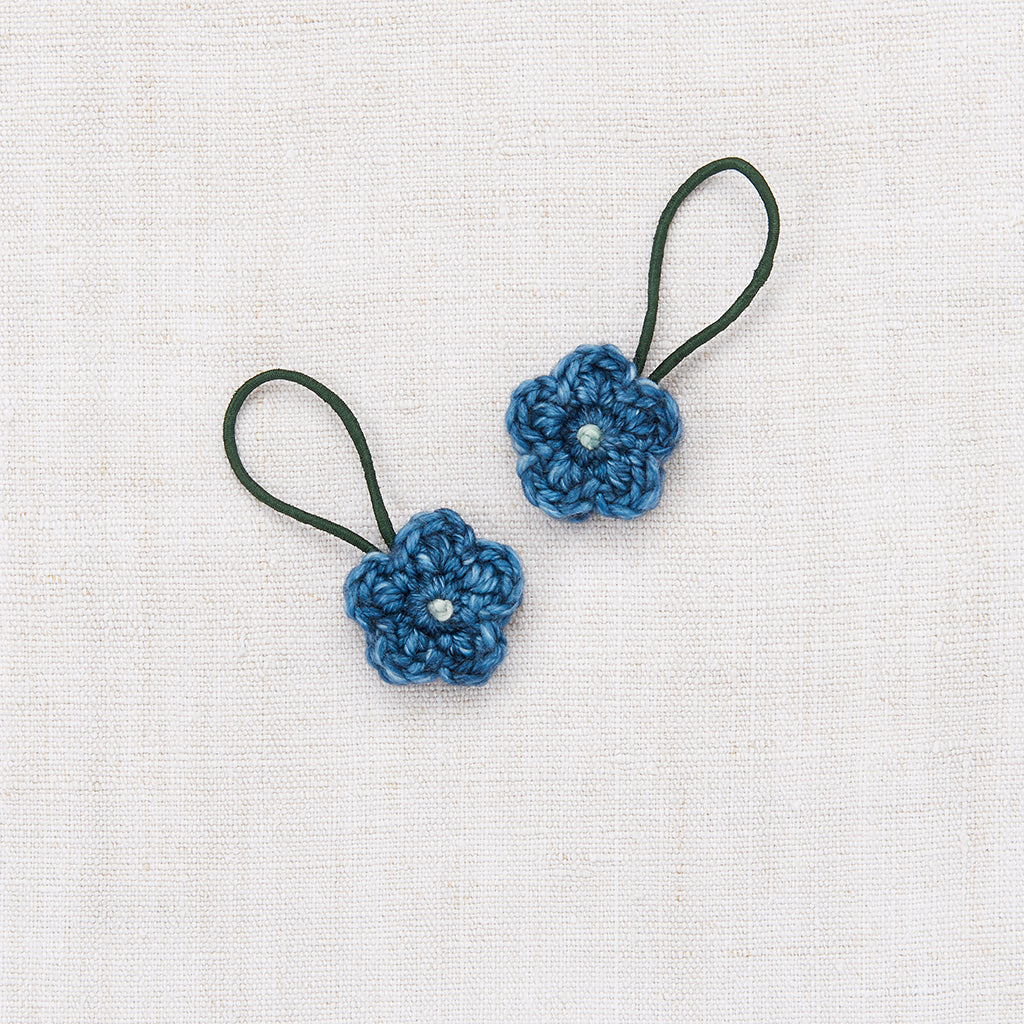 Crochet Flower Elastic Set - Blue Smoke