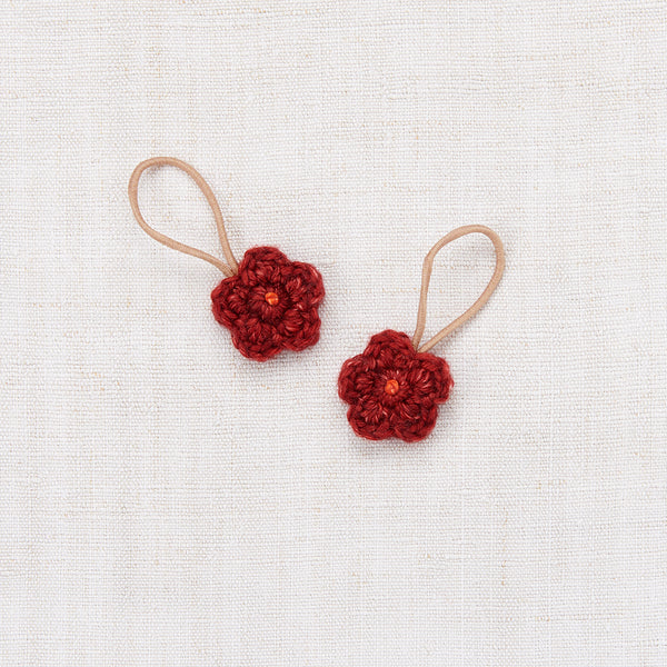 Crochet Flower Elastic Set - Brick