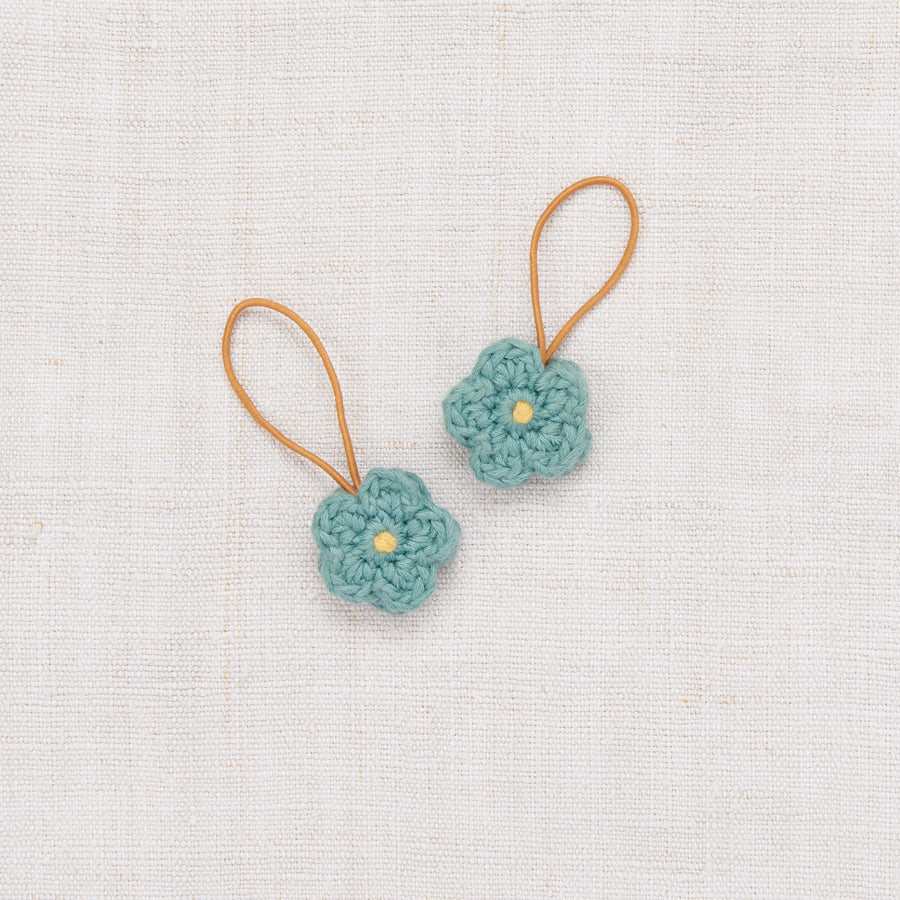 Crochet Flower Elastic Set - Dusty Blue/Sunflower