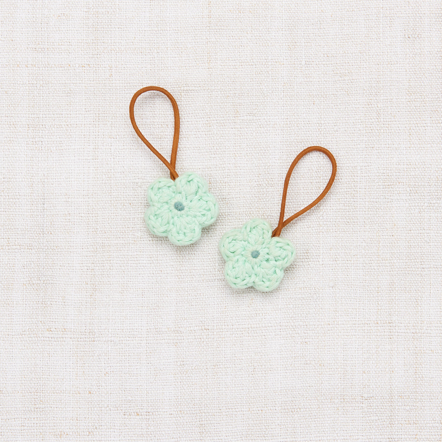 Crochet Flower Elastic Set - Mint/Dusty Blue