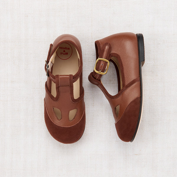Elmwood T-Strap Shoes - Warm Brown