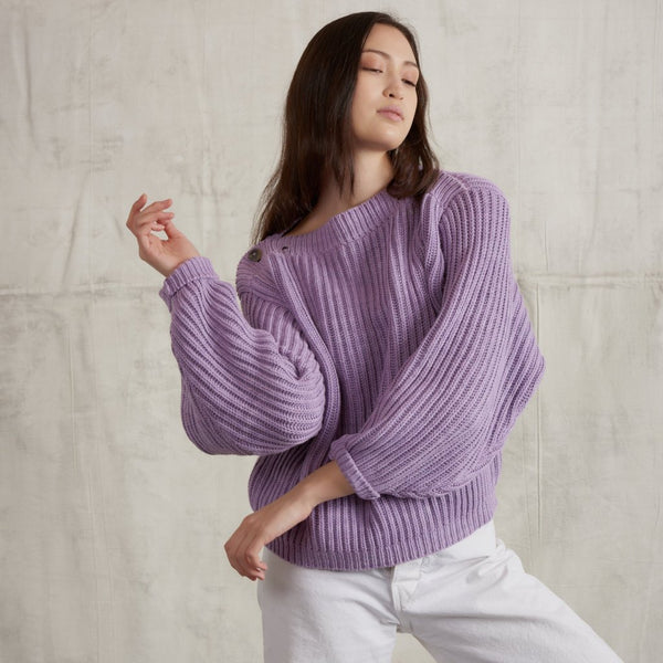 Adult Fisherman Boatneck Pullover / Lavender
