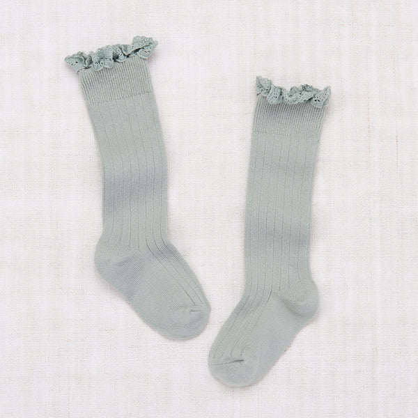 Lace Knee Socks - Mint