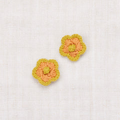 Large Crochet Flower Clip Set - Apricot/Spring Green