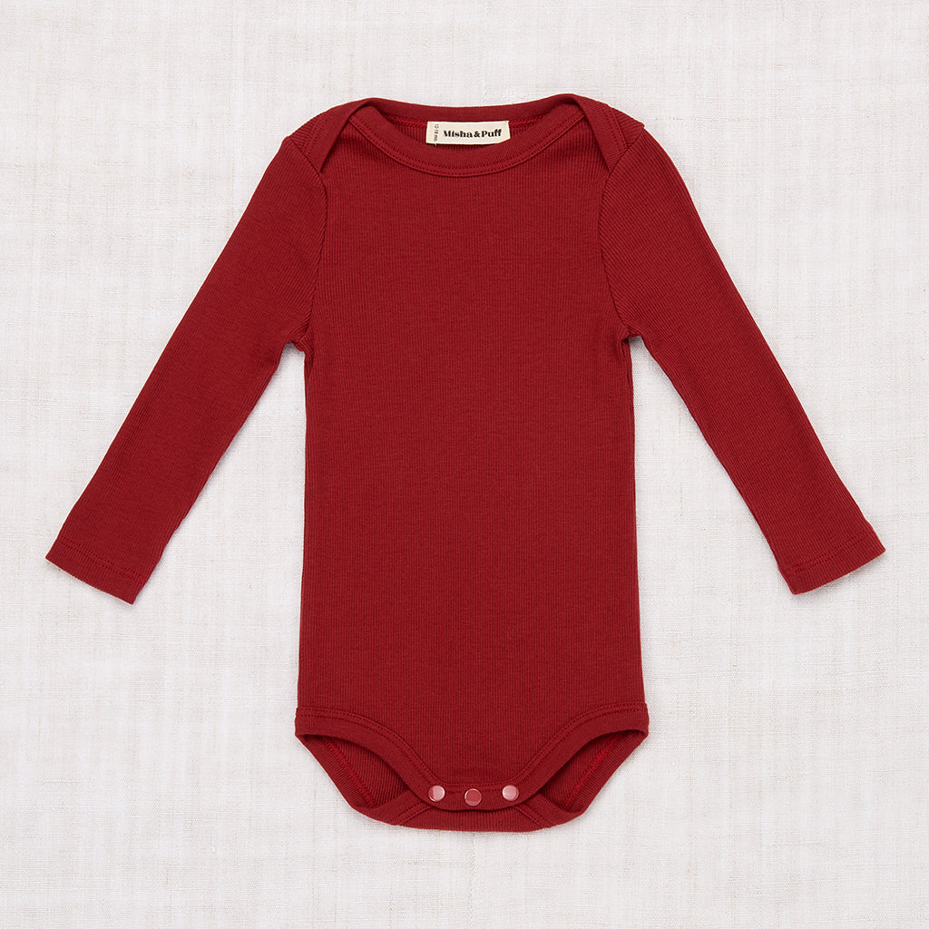 Long Sleeve Ribbed Onesie - Brick
