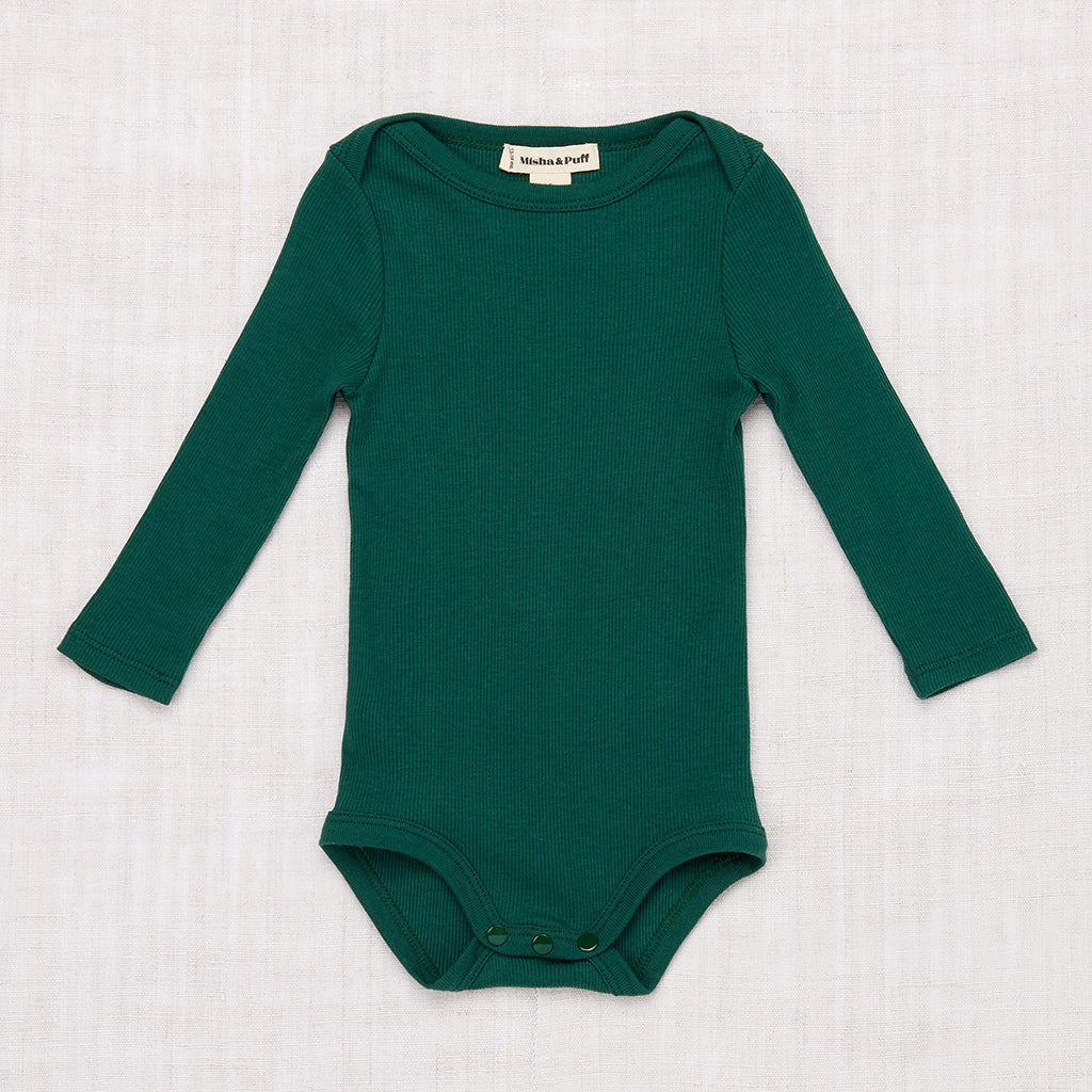 Long Sleeve Ribbed Onesie - Laurel
