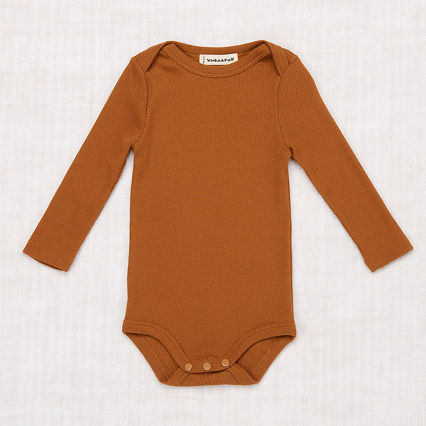 Long Sleeve Ribbed Onesie - Nutmeg