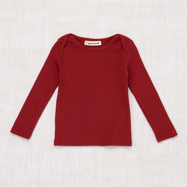 Long Sleeve Rib Slim Tee - Brick