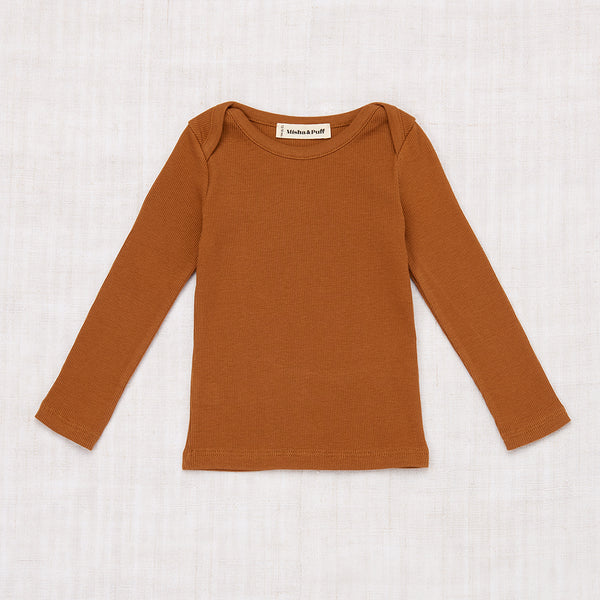 Long Sleeve Rib Slim Tee - Nutmeg