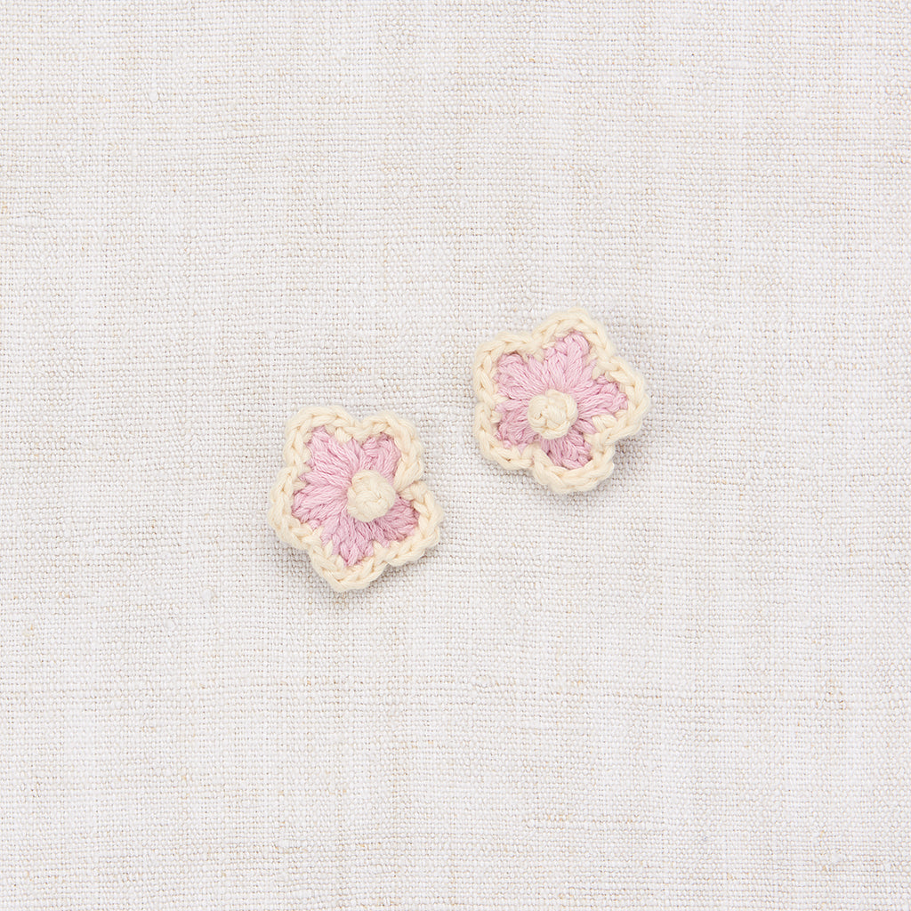 Medium Crochet Flower Clip Set - Soft Purple/ String