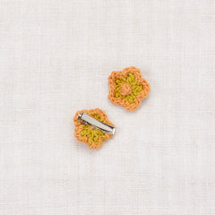 Medium Crochet Flower Clip Set - Spring Green/ Apricot