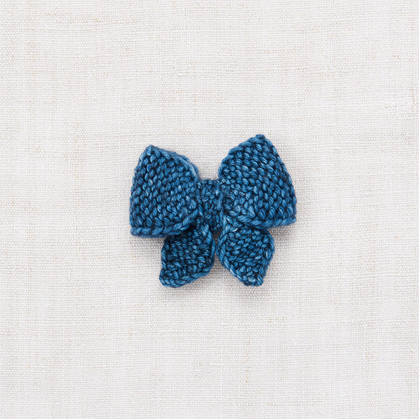 Medium Puff Bow - Blue Smoke