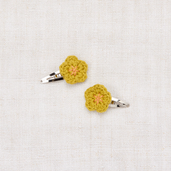 Mini Flower Clip Set - Spring Green/ Apricot