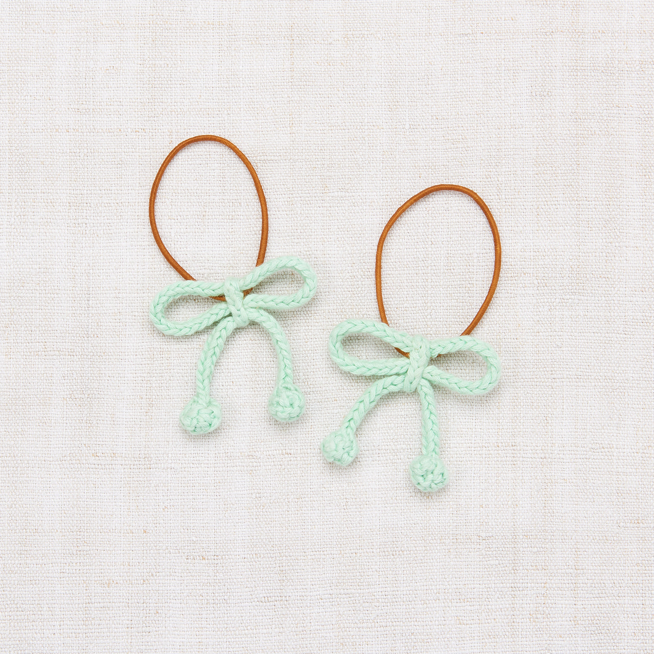 Popcorn Bow Elastic Set - Mint