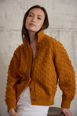 Adult Cotton Popcorn Cardigan / Marigold