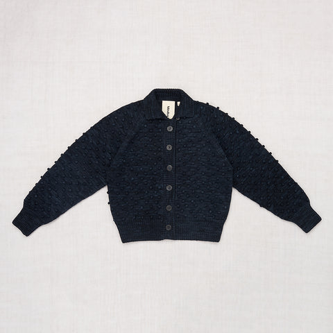 Adult Cotton Popcorn Cardigan / Pale Black