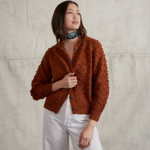 Adult Cotton Popcorn Cardigan / Terracotta