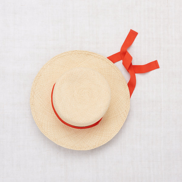 Ribbon Straw Hat - Natural/Crimson Red