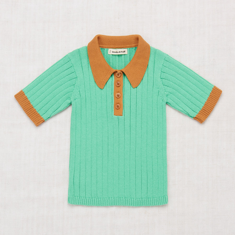 Colorblock Polo Shirt - Jade/Caramel
