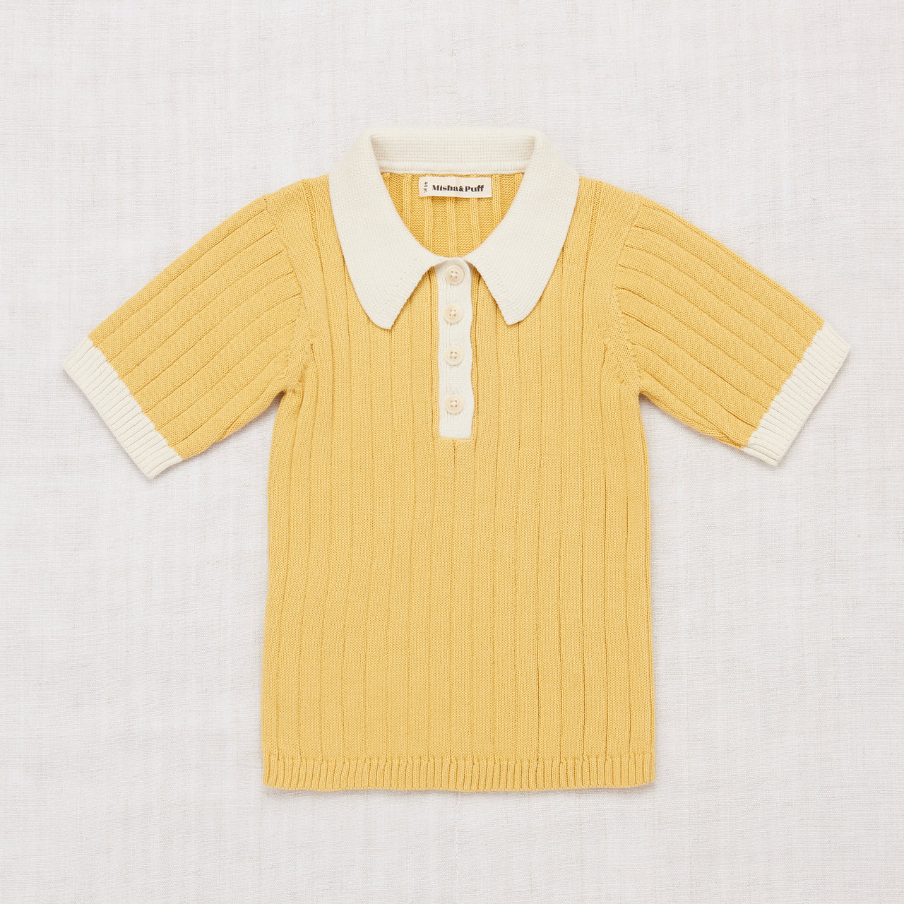Colorblock Polo Shirt - Ochre/Vanilla