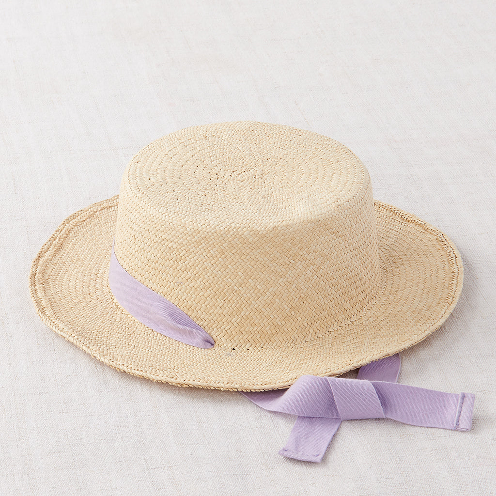 Ribbon Straw Hat - Natural/ Lavender